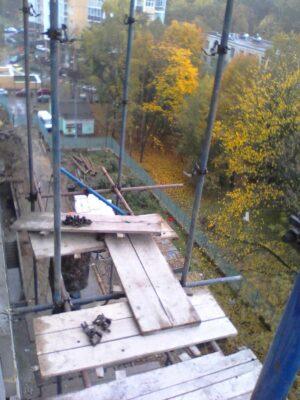 Фото монтаж хомутовых лесов улица Ярцевская